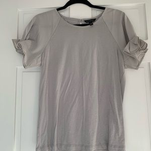 Mixed Media Gray Top with Tulip Sleeves